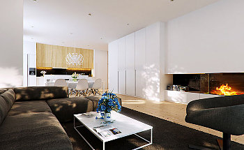 Brown-Modern-Living-Room-Design-with-Fireplace-by-PM-Studio